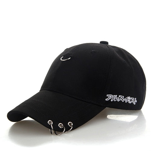 BONJEAN solid Ring Safety Pin curved hats fashion hoop baseball cap women men sun cap snapback hip hop caps casquette gorras-lilogal
