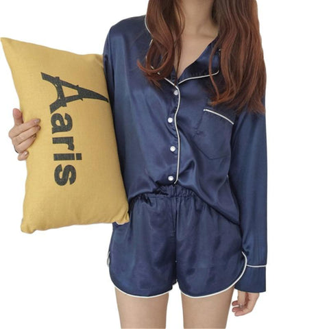 Womens Silk Satin Pajamas Set 2018 Fashion Sexy Two Piece Set Female Sleepwear Long Sleeve Shirt and Shorts Pyjama Women-lilogal
