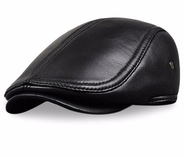 HL041 Men's Leather baseball Cap brand new style sheep leather beret newsboy belt hunting gatsby black caps hats-lilogal