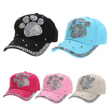 2018 Fashion Casual Casquette Children Baseball Cap Girls Boys Plum Blossom Paw Heart Print Caps Diamond Snapback Hats Gorras-lilogal