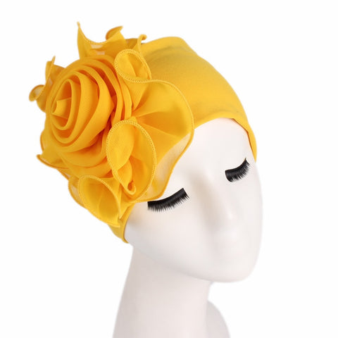 Women Stretchy Beanies with Big Flower Hair Loss Cap African Turban Boho Head Wrap Hijab Wedding Party Cap Turbantes mujer-lilogal