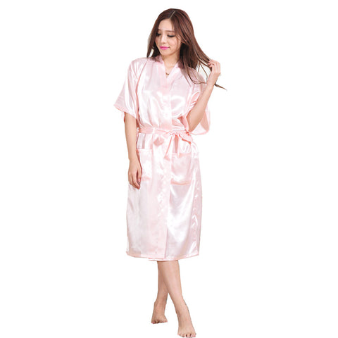 Women Silk Satin Long Wedding Bride Bridesmaid Robe Night Kimono Robe Solid Bathrobe Fashion Dressing Gown-lilogal
