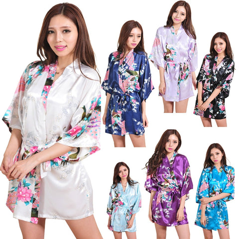 Women Silk Satin Night Robe Short Wedding Bride Bridesmaid Robes Floral Peacock Kimono Robe Sexy Bathrobe Fashion Dressing Gown-lilogal
