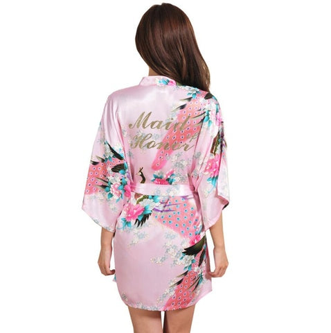 Women Silk Satin Short Night Robe Solid Kimono Robe Fashion Bath Robe Sexy Bathrobe Peignoir Femme Wedding Bride Bridesmaid Robe-lilogal