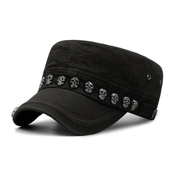 Hip Hop Skull Flat Hats Punk Rivet Ring Men Army Hat Cool Woman Casual Baseball Cap Brand Fitted Hats 2018 New Year'S Gift-lilogal