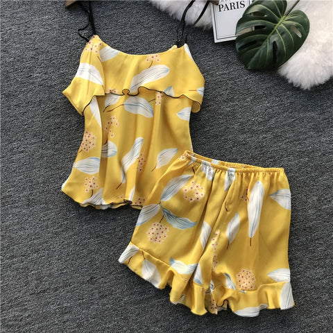 e72b64119cd Lisacmvpnel Printing Shorts Women Pajamas Set Female Sweet Ice Silk Sexy  Pijama Loose Casual Sleepwear