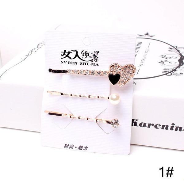 3 Pcs/Set Korean Style Girls Barrettes Crystal Rhinestone Hair Clips Women Butterfly Love Shaped Hairpins Clamp Accessories-lilogal