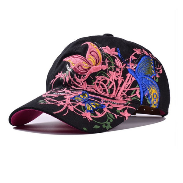Women Butterflies Flower Embroidery Caps Women Girl Sun Hats Casual Snapback Caps Women Baseball Cap Winter Autumn-lilogal
