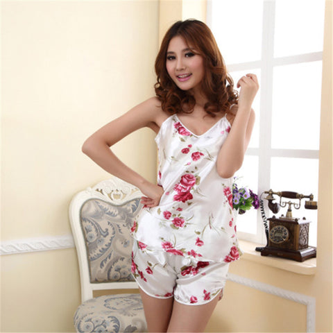 Womens Sexy Underwear Pajamas Set Blouse Shirt + Shorts Two Piece Lingerie Elegant Rose Print Sleepwear-lilogal