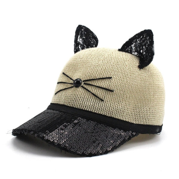 Ears Baseball Cap for Children Girl Hat Cat Baseball Caps Adjustable Summer Sun Hat Cap Cute Baby Kid Snapback Bone Wholesale-lilogal