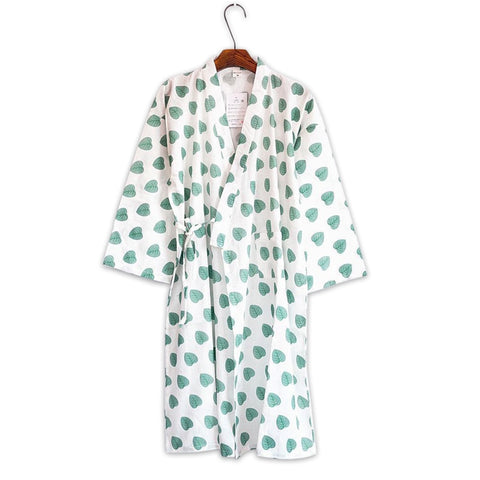 Women Summer japanese leaves kimono robe women nightdress 100% cotton ladies sleepshirts bathrobe for women dressing gown-lilogal