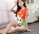 Womens Summer Polyester Pajamas Sets Cartoon Sleepwear Pajamas Women Short Sleeve Pajamas Pijama De Mujer-lilogal