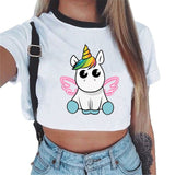 ZZSYKD New Homewear for Women Unicorn Pajama Shorts Crop Top Sexy Lingerie Summer Top Clothes Sleep Wear Vintage Shirt Nightwear-lilogal