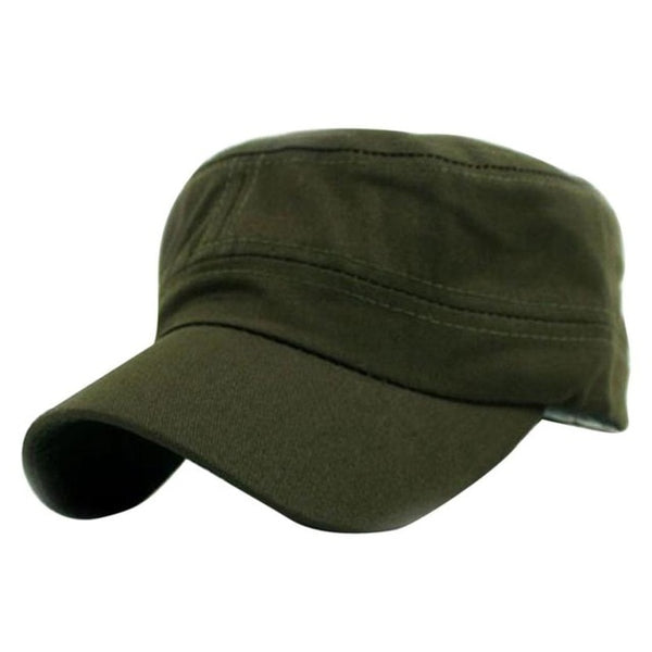 Hot Selling Solid Unisex Classic Plain Vintage Army Cadet Style Cotton Hat Adjustable Casual Baseball cap Lowest Price@-lilogal