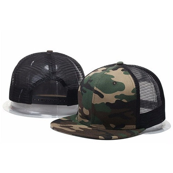 2018 Top Sell Blank mesh camo Snapback Hats Women Baseball Caps camouflage hip hop mens Casquettes bboy gorras bones Solid color-lilogal
