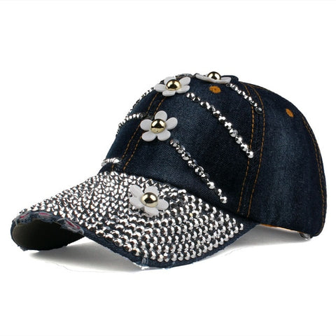 [YARBUU] Baseball caps with flowers 2017 New style women Adjustable sun hat rhinestone denim hat and cotton snapback cap-lilogal
