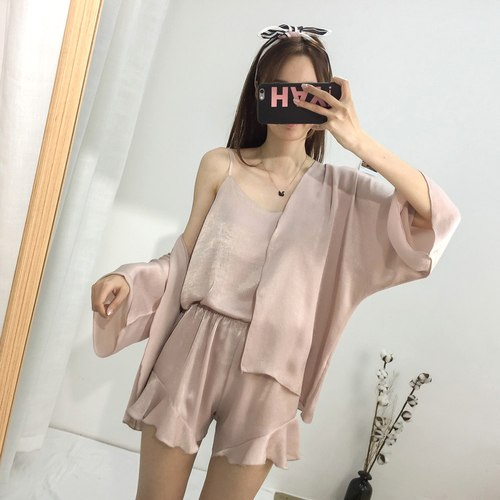 Summer Pajamas Sets Women Fashion Faux Silk Satin Loose Pijama Sleepwear Cardigan & Camisole Pajamas Pyjamas Short Homewear-lilogal