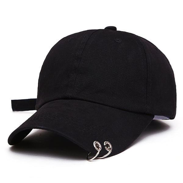 New Mens Womens Black Color Adjustable Casual Baseball Cap Metal Rings Plain Hat Cotton Blend Fashion Adjustable Caps-lilogal