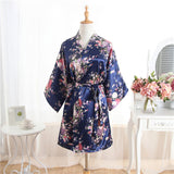 Women Silk Satin Wedding Bride Bridesmaid Robe Floral Bathrobe Short Kimono Robe Night Robe Bath Robe Fashion Dressing Gown R103-lilogal
