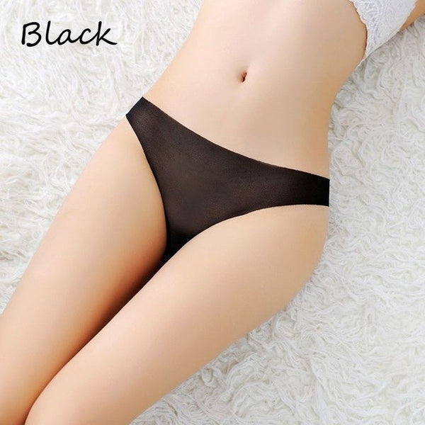 1/2 PC Fashion Women Seamless Solid Color G-string Transparent Thongs Sleepwear Sexy Ladies Slim Panties Underwear 8 colors-lilogal