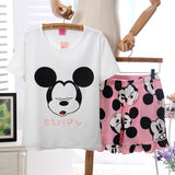 Womens Pajamas Sets Polyester Short-Sleeve Top And Shorts Pajama Set Sleepy Cartoon Print Waist Shorts Female Sleepwear-lilogal