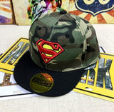 2018 Spiderman superman Flash cosplay embroidery Baseball Cap kids Boy Girl Hip Hop Army Camouflage hat-lilogal