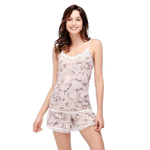 Yusano Women's Pajama Sets Shorts Cotton Sexy Cami Sleepwear Lace V-Neck Sleeveless Spaghetti Strap Cami Top and Shorts Pants-lilogal