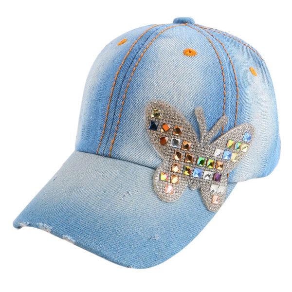 4-11 year boy girl children luxury beauty summer baseball cap multi color rhinestone butterfly kids child fashion snapback hat-lilogal