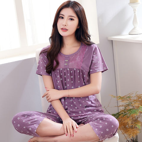 New arrived women pajamas set summer floral print pyjamas cotton sleepwear women night suit tracksuit home clothing for female-lilogal
