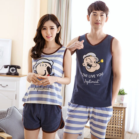 Hot Sale Couple Pajamas Set Summer Men And Women Sleeveless Pyjamas Vest Lovers Sleepwear Plus Size 4XL Nightwear Home Clothing-lilogal