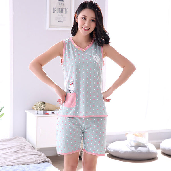 2018 Summer 100% Cotton Women Home Clothing Star Printed Female Pajamas Adult Casual Pajamas 2 Pc tops+pants Vest Sets sleepwear-lilogal