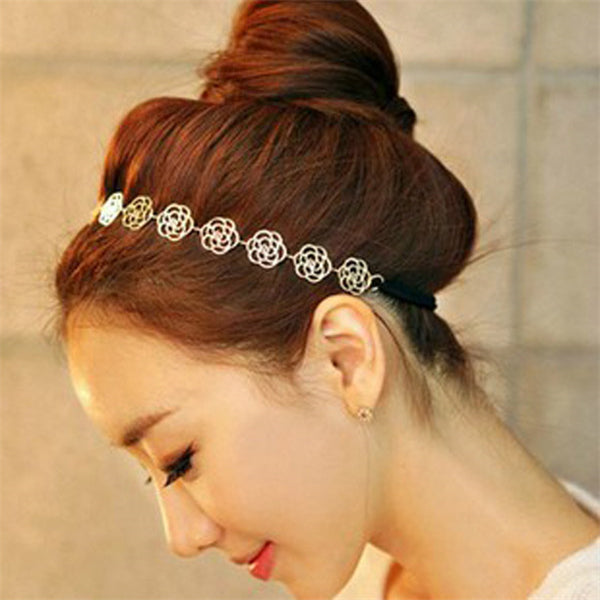 Lovely Hair Accessories Metallic Sweet Lady Hollow Rose Flower Hair Band Gold Elastic Hair Band Hair Accessories For Women-lilogal