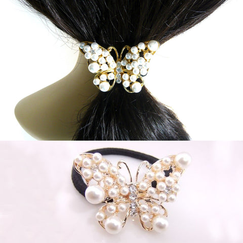 Women Imitation Pearls Butterfly Hair Rope Charm Crystal Rubber Headband Ponytail Gum Elastic Hair Bands Hair Accessories-lilogal