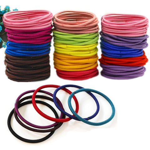 Women Girls' Elastic Hair Band 50pcs/pack Colorful Hair Ties Ropes Scrunchy Ponytail Rubberbands Tie Gum Accesorios Pelo-lilogal