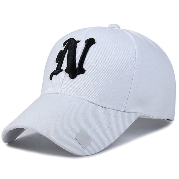 1Piece Baseball Cap Solid Color Leisure Hats With N Letter 3D Embroidered Caps for Men And Women-lilogal