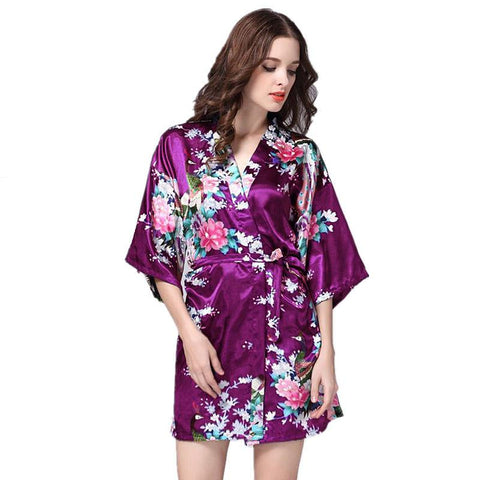 Purple Satin Robe Sexy Peignoir Femme Soie Women Short Mini Robes Sleepwear Pijamas Batas De Seda Peignoir Kimono Nightgown-lilogal