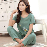 Novelty Green Chinese Women Cotton Pajamas Set Nightgown Print Floral Pyjamas Suit 2 PCS Sleepwear Summer Home Clothes M-XXL-lilogal