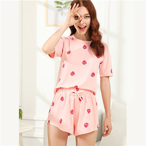 Dotfashion Strawberry Print Top And Shorts PJ Set 2018 Summer Round Neck Short Sleeve Nightwear Women Casual Pink Pajama Set-lilogal