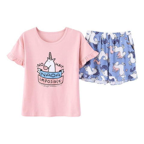 XCAMP Women Sleepwear 2018 New Two Pieces Sweet Unicorn Pajamas S Cotton Summer Clothes For Women-lilogal