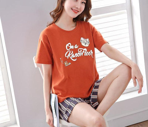 Womens Summer Pajamas Set Cotton Pyjamas Women Round Neck Sleepwear Short-lilogal