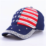 [YARBUU] The American flag Baseball caps 2018 fashion hat For men women The adjustable cotton cap rhinestone star Denim cap hat-lilogal