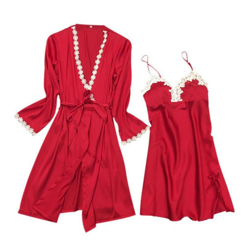 women's sexy lace edge robe & gown sets bathrobe + mini night dress two pieces sleepwear womens sleep set faux silk 5 colors-lilogal