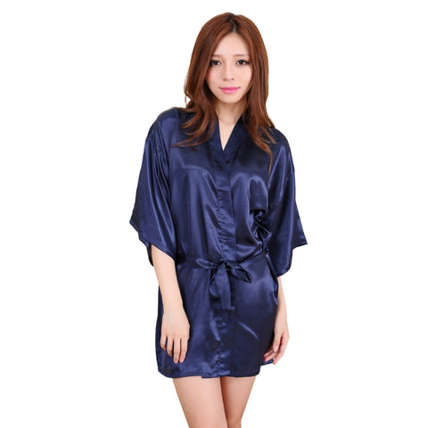 Women Silk Satin Wedding Bride Bridesmaid Robe Floral Bathrobe Short Kimono Robe Night Robe Bath Robe Dressing Gown-lilogal
