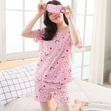Pajamas Set For Women Summer Short Sleeve Cartoon Cute Sleepwear Girl Pijamas Mujer Send goggles Nightgown Women Leisure-lilogal