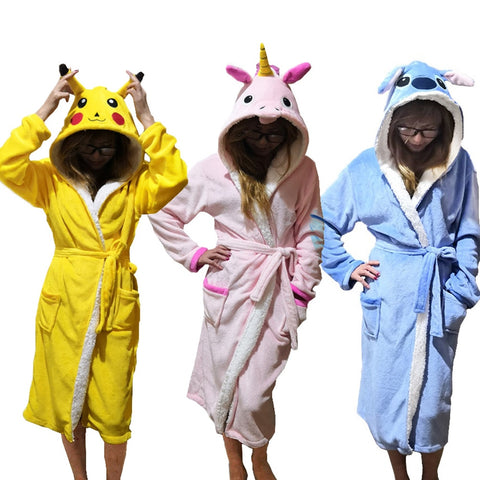 Unisex Animal Sleepwear Robe Sleep Cute Nightgown unicorn Stich night robe Bathrobe Winter Homewear Dressing Gowns For Women Men-lilogal