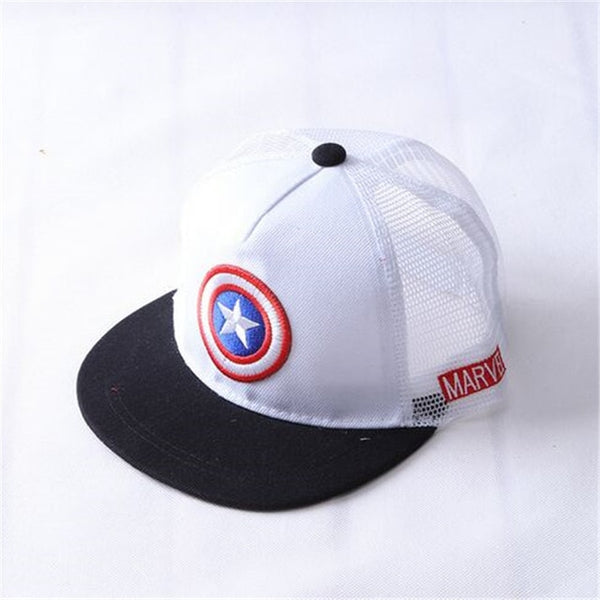 ALLKPOPER Summer Childrens Baseball Cap Boys&Girls Cartoon Captain America Snapback Adjustable Kids Hip Hop Hat Sun Mesh Cap-lilogal