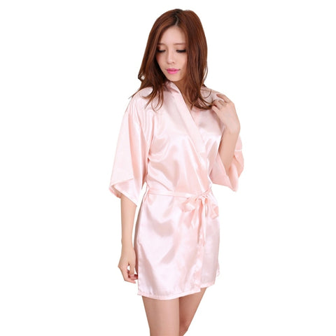 Women's Nightgown Satin Robes Belt Pajamas Sleepwear Nightdress Kimono Robe Short Bathrobe-lilogal