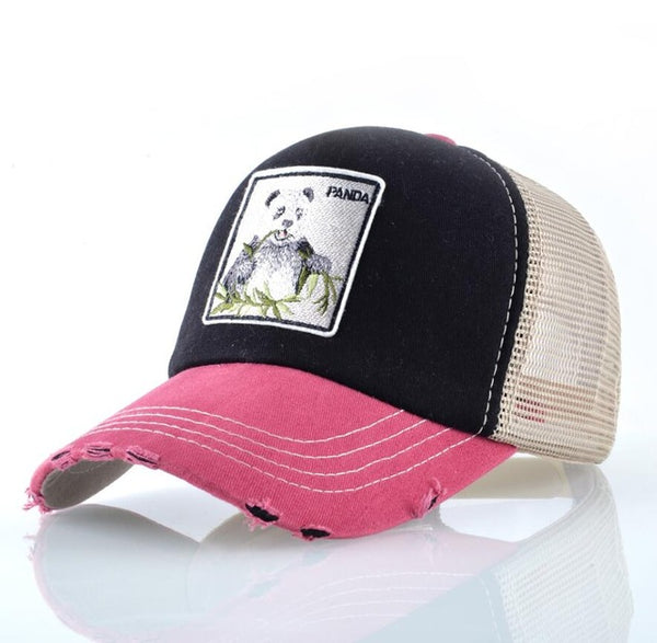 Panda Trucker Cap Snapback Patch Baseball Cap Women Casual Breathable Mesh Hats For Men Unisex Hip Hop Casquette-lilogal