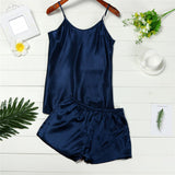 Chamsgend Pajama Set Women Sexy Soft Comfortable Strap Camisole Shorts Nightwear Sleepwear 80202-lilogal