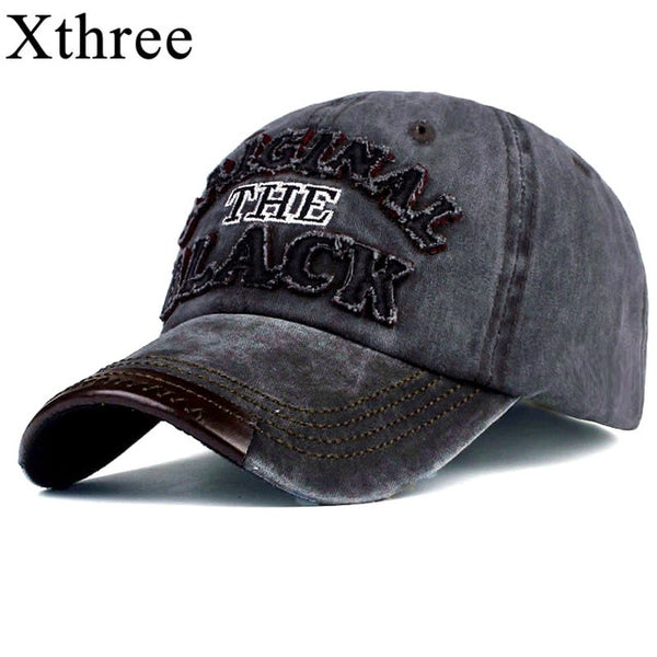 Xthree hot retro baseball cap fitted cap snapback hat for men women gorras casual casquette Letter embroidery black cap-lilogal